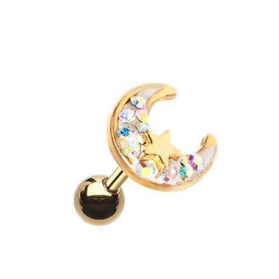 Golden Cresent Moon Tragus Cartilage Earring