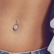 Amira Rose Gold Triple Tier Belly Button Ring (Silver Version)