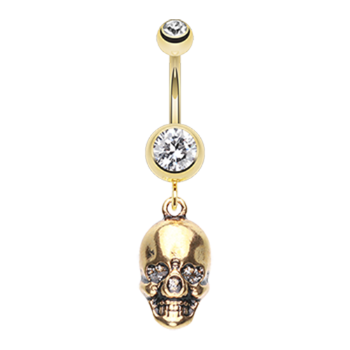 Gold Plated Skull Belly Piercing Jewellery