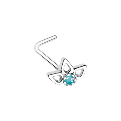 Sparkling Lotus L Shape Nose Stud