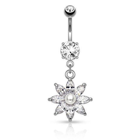 Surgical Steel Flower Belly Ring