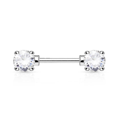 Double Crystal Nipple Ring