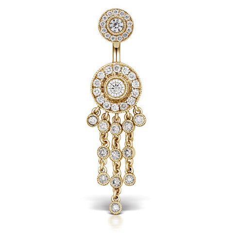 Authentic Maria Tash Diamond Pave with 12 Dangle 18k Gold Belly Button Bar