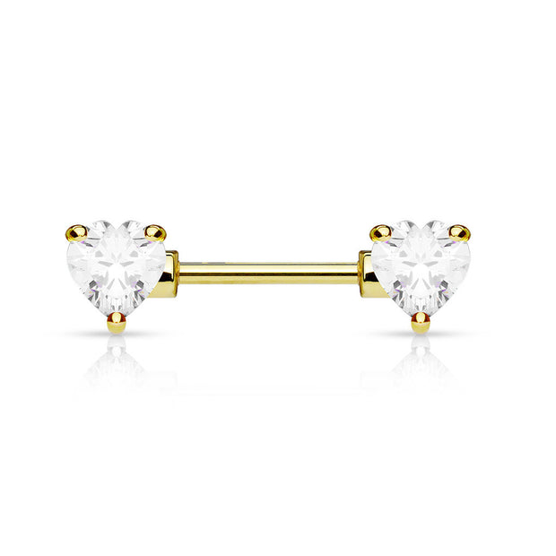 Golden Double Heart Nipple Ring