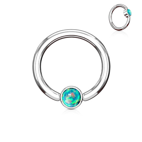 Green Opal Set Flat Cylinder 14G Captive Belly Ring