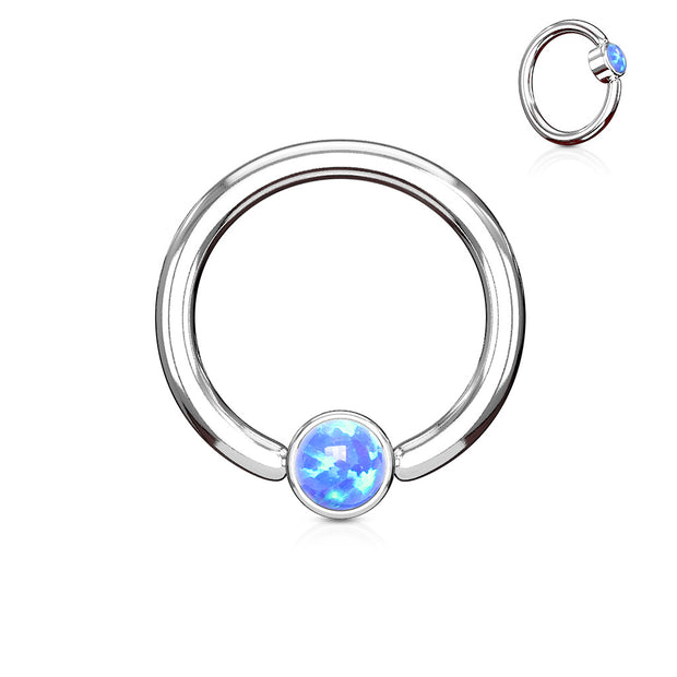 Blue Opal Set Flat Cylinder 14G Captive Belly Ring