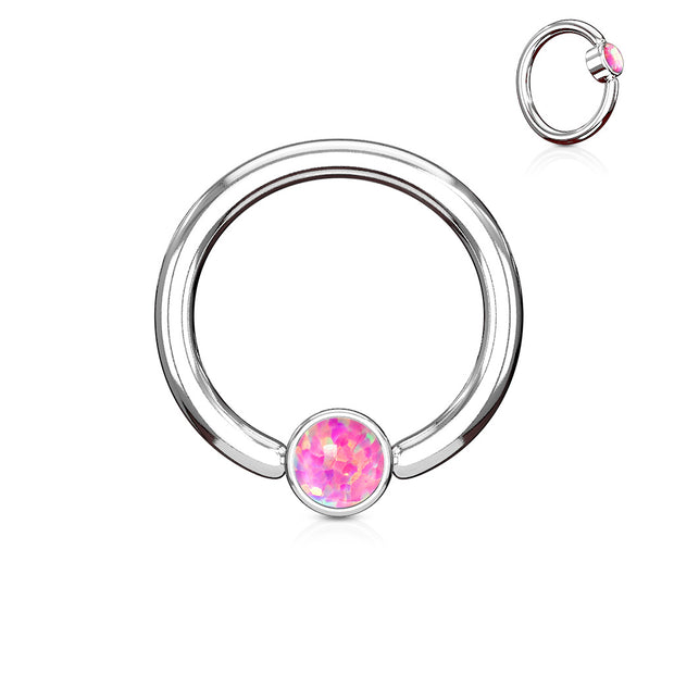Pink Opal Set Flat Cylinder 14G Captive Belly Ring