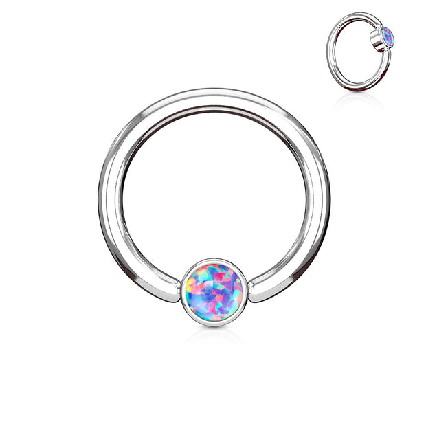 Purple Opal Set Flat Cylinder 14G Captive Belly Ring