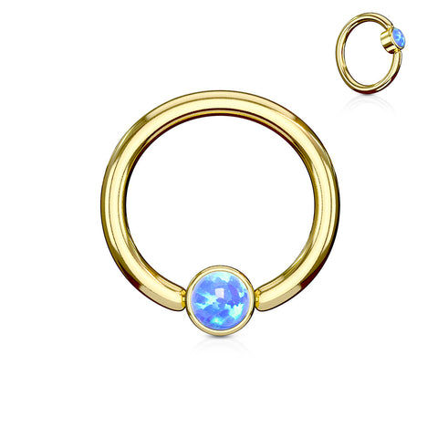 Blue Opal Set Flat Cylinder Gold Plated Captive Belly Ring