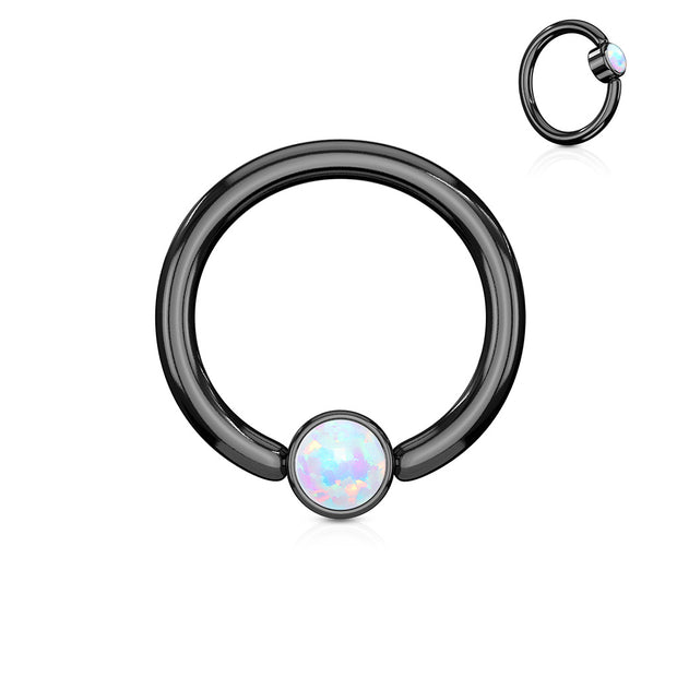 White Opal Set Flat Cylinder Black Titanium IP Captive Belly Ring