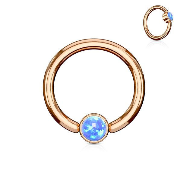 Blue Opal Set Flat Cylinder Rose Gold Plated Captive Belly Ring
