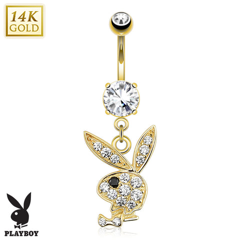 Solid Gold Playboy Belly Dangle
