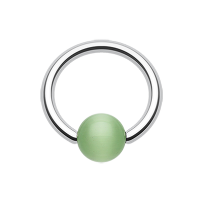Surgical Steel Ball Closure Ring with Green Cat Eye Stone Bead