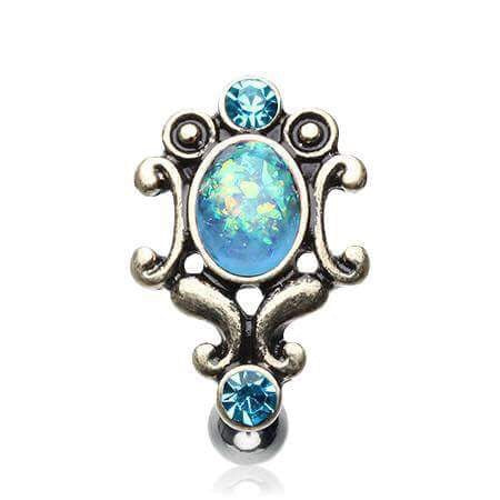 Vintage Reverse Belly Piercing with Aurora Gems and Opals