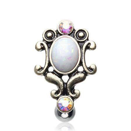 Vintage Top Mount Belly Bar with Aurora Gems and Opals