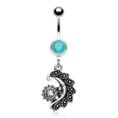 Vintage Sun and Moon Dangly Belly Ring