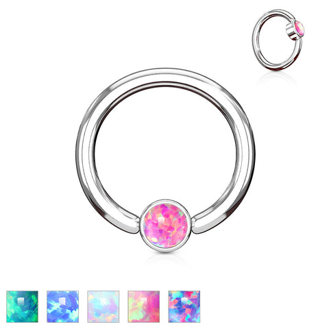 Opal Set Flat Cylinder 14G Captive Belly Ring