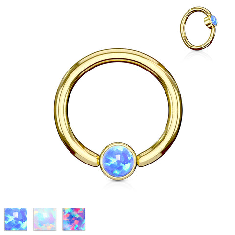 Opal Set Flat Cylinder Gold Plated Captive Belly Ring