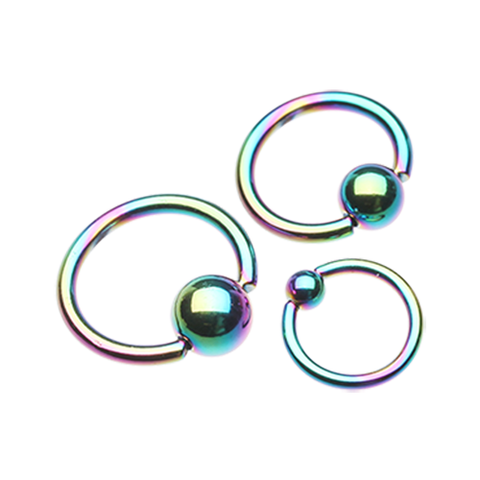 Rainbow Burst Captive Belly Piercing