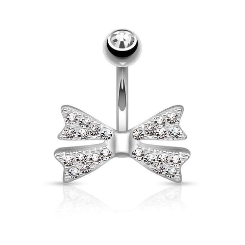 Cute Diamonte Bow Belly Ring