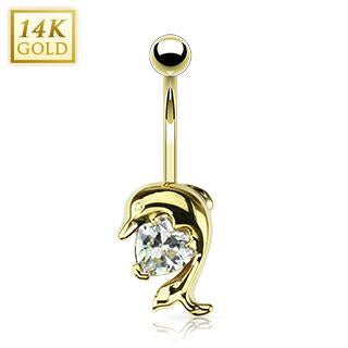 Solid Gold Dolphin Belly Ring