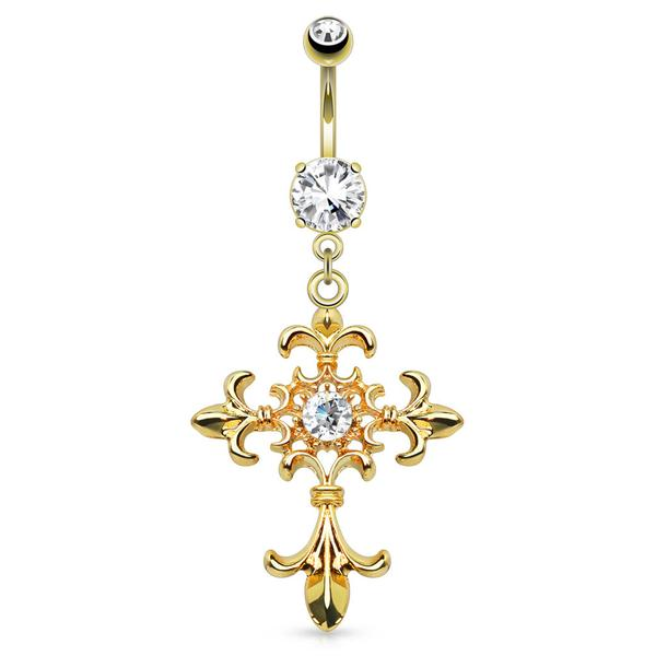 Gold Plated Fleur de Lis Belly Dangle