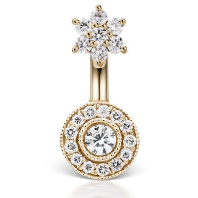 Diamond Flower & Pave 18k Navel Piercing Bar