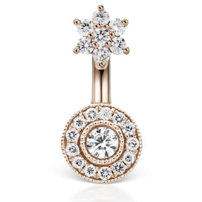 Diamond Flower 18k Rose Gold Belly Piercing Bar