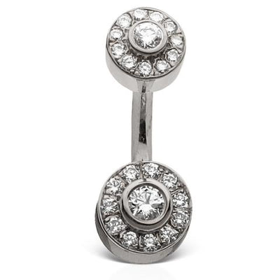 MT Diamond Ice Pave 18k White Gold Belly Piercing Bar