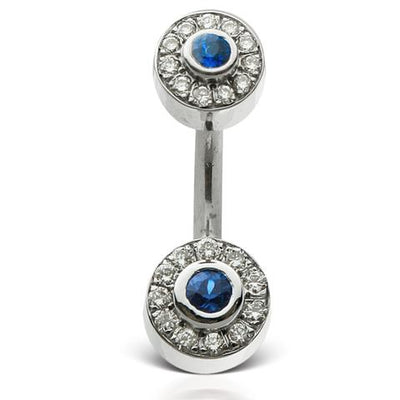Blue Shapphire and Diamond Ice Pave 18k Gold Belly Piercing Bar
