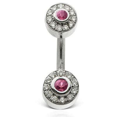 Pink Shapphire and Diamond Ice Pave 18k Gold Belly Piercing Bar