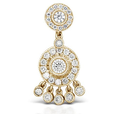 Authentic Maria Tash Diamond Pave with 5 Dangle 18k Yellow Gold Belly Bar