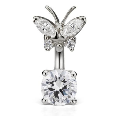 Maria Tash Handmade Butterfly & Solitaire 14k White Gold Navel Piercing Ring