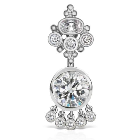MT Crown 14k White Gold Dangle Belly Piercing Ring