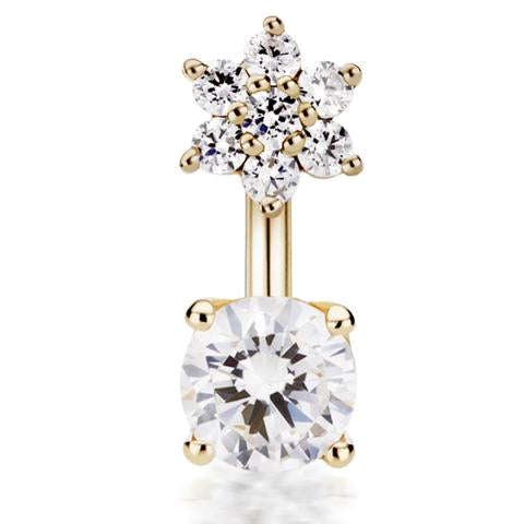14k Gold Genuine Diamond Flower & Solitaire Belly Ring by Designer Maria Tash