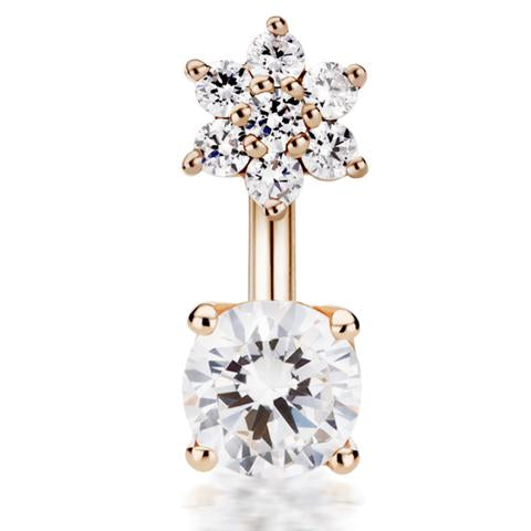 14k Rose Gold Genuine Diamond Flower & Solitaire Belly Ring by Designer Maria Tash