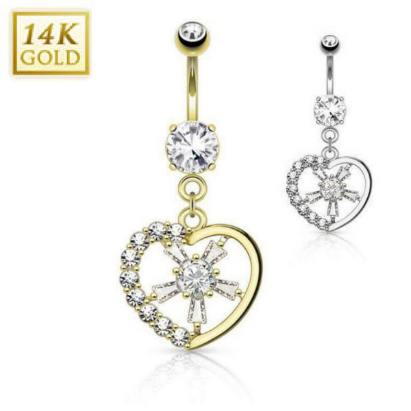 High End Solid Gold Love Heart Belly Button Ring
