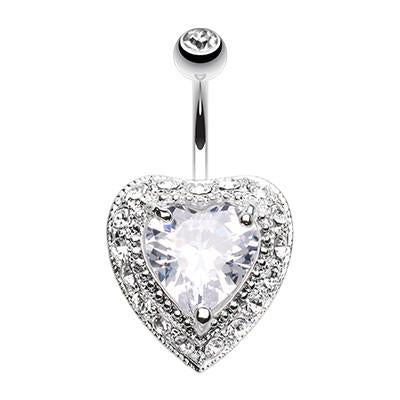 Extravagant Heart Fixed Belly Ring