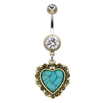 Love Heart Pendant Dangly Belly Rings