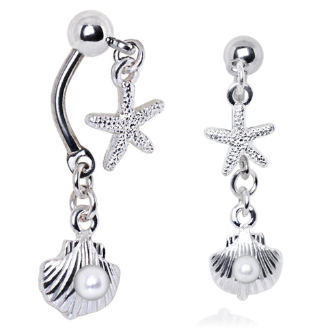Ocean Charmed Cluster Split Belly Ring