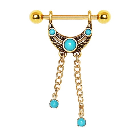 Tribal Golden Turquoise Nipple Barbell