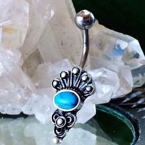 Bohemian Muse Turquoise Belly Button Ring