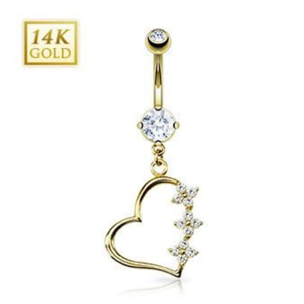 14k Solid Yellow Gold Dangling Floral Heart Belly Ring