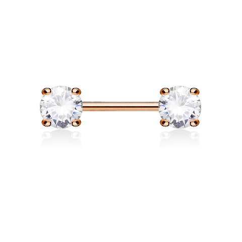 Rose Gold Claw Set 5mm Crystal Nipple Ring