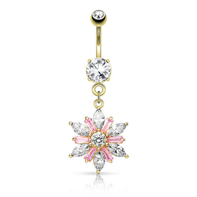 Gold Plated Flower Belly Button Ring