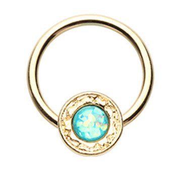 Gold Plated Captive Shield Belly Ring