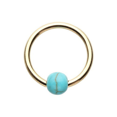 14k Yel. Gold Ball Closure Captive Ring