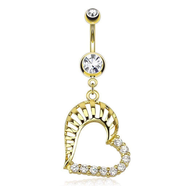 CZ Gold Plated Dangling Belly Piercing