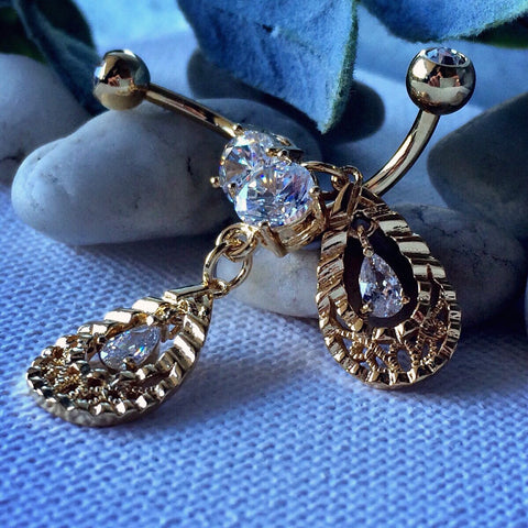 Valyria's Golden Tear Belly Ring