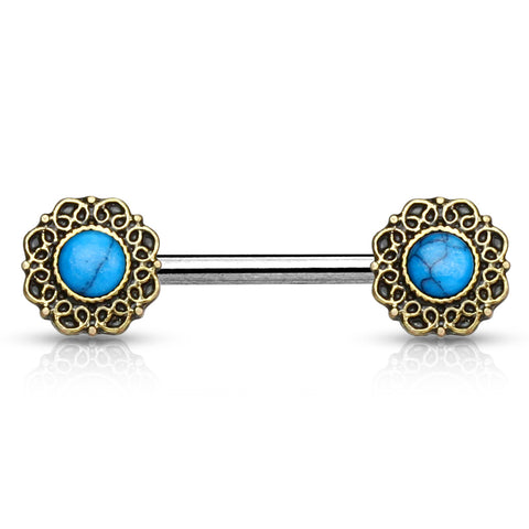 Antique Golden Turquoise Nipple Barbell
